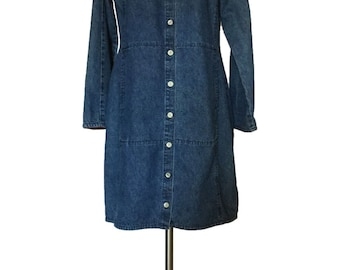 Vintage 1990s Territory Ahead Denim Shirtdress Button Front Preppy Hipster Blue Jean Dress