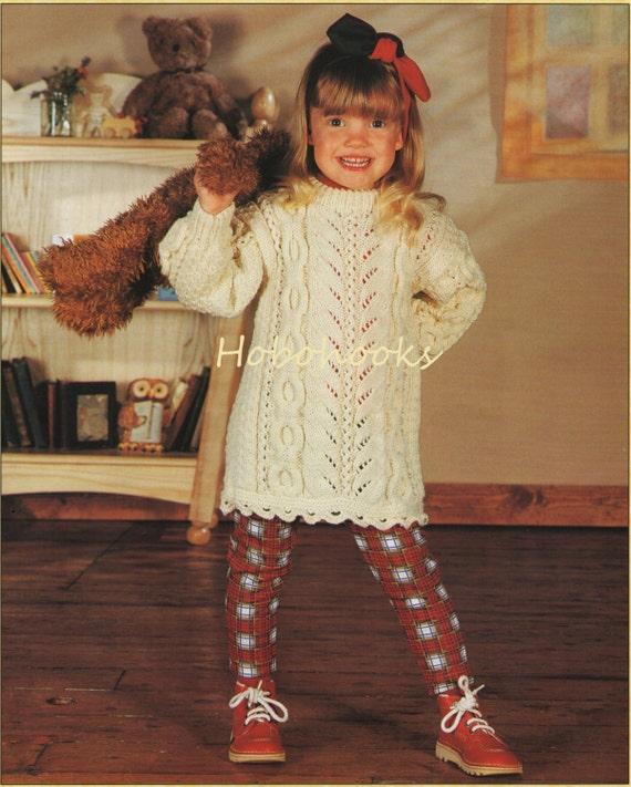 Girls knitting pattern girls aran dress baby dress childs dt1010fo
