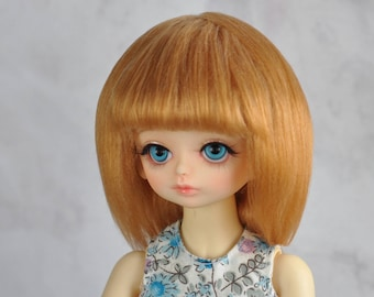 """BJD wig - Straight with bang - mohair - 6-7"""", 7-8"""", 8-9"""", 9-10"""" faux fur"""