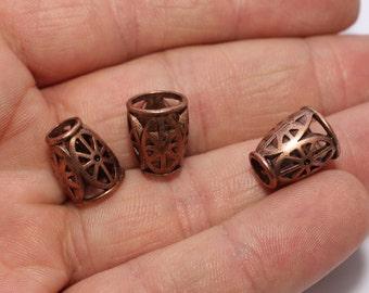 50 Pcs Copper Tone End Cap, 10x13mm Bead Caps, Cones, Filigree, Cord End, Tube End caps , NED20