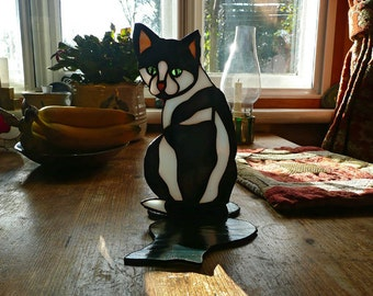 Free standing Stained glass cat sun catcher