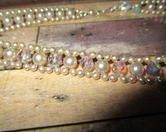 Pearl Look Choker Necklace Costume Jewellery (1990s)