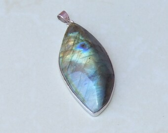 Labradorite Pendant - Teardrop - Polished Labradorite - Blue Flash - Gemstone Pendant - Silver Plated Bezel and Bail - 24mm x 50mm - 1075