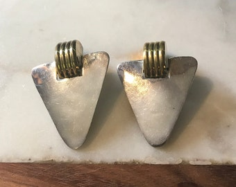Vintage Taxco Mexico Sterling Silver and Gold Vermeil Large Earrings Clip On 925