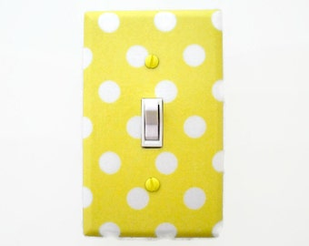 Polka Dot Light Switch Cover - Yellow and White Nursery Decor - Gender Neutral Nursery Decor
