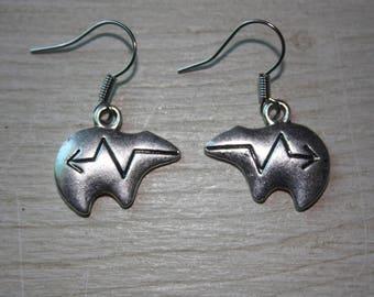 Bear earrings silver metal