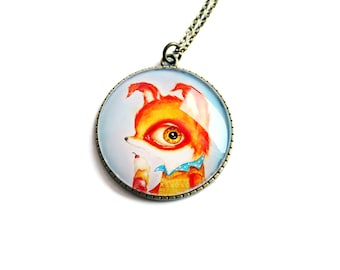 Pendant with print of Tiny Mr. Fox, art by Susann Brox Nilsen. Flower, lowbrow, surrealism, baby animal, ice cream, kids, colorful, big eyes