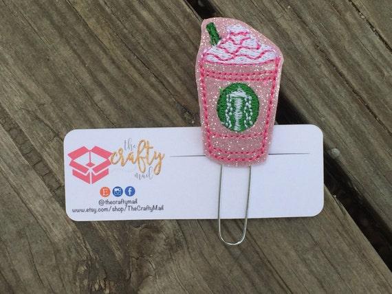 Pink Glitter Frappucino Paper Clip/Planner Clip/Bookmark. Strawberry Frappucino Clip. Coffee planner clip
