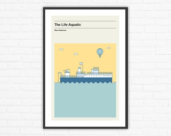 Wes Anderson, The Life Aquatic Belafonte Ship Minimalist Movie Poster