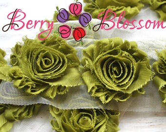 """2.5"""" Olive Green shabby flower trim - frayed chiffon - rose flowers by the yard - JT olive green"""