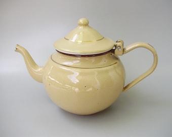 Pot à café en émail beige Vintage, ustensiles de cuisine