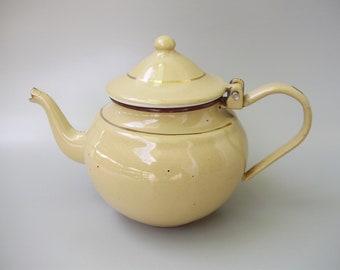 Vintage beige enamel coffee pot,kitchenware