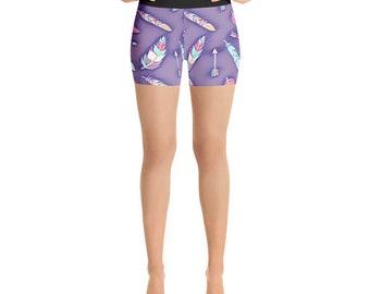 Boho Chic Yoga Shorts - Boho Feathers Yoga Shorts - Boho Yoga Shorts - Feathers Yoga Shorts - Arrows Yoga Shorts