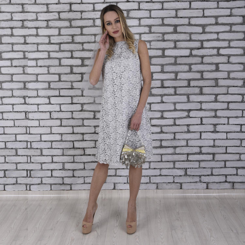 Einfache Hochzeit Kleid grau Hochzeitskleid kurze Boho