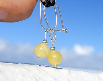 Yellow Butterscotch Baltic Amber Ball Earrings, Dangle Drop Earrings, Small Amber Earrings, Baltic Amber Jewelry
