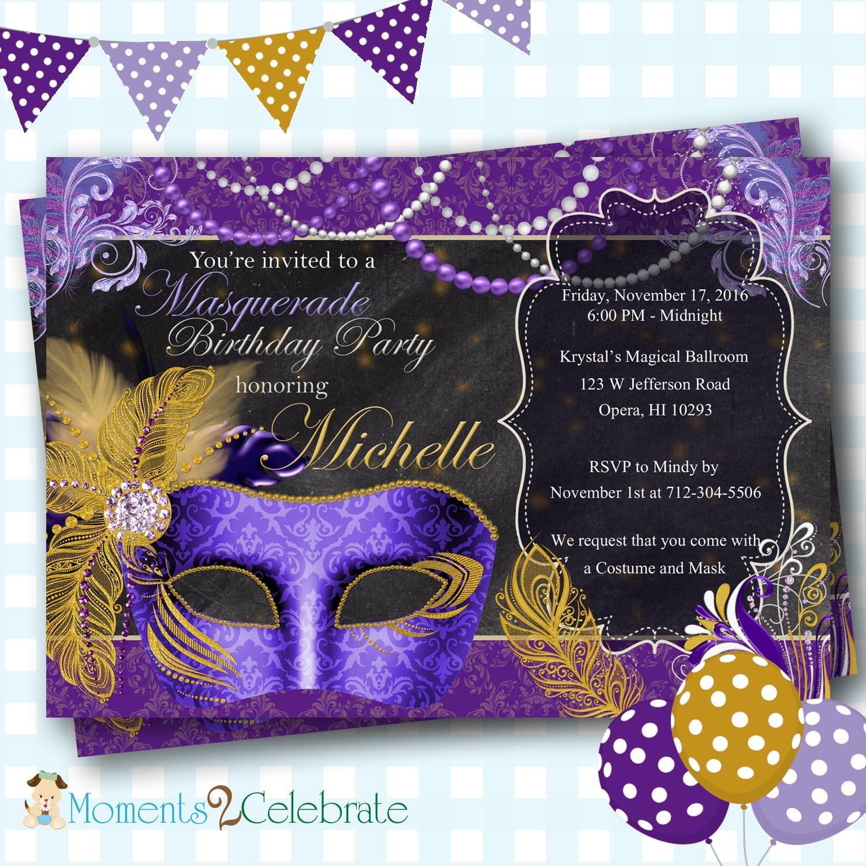 Masquerade Invitation Mardi Gras Party Masquerade Party