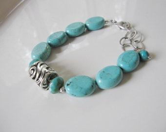 Chunky Beaded Bracelet, Turquoise Bracelet, Bohemian Bracelet, Boho Bead Bracelet, Tibetan Silver, Statement Bracelet, Redpeonycreations