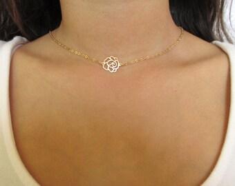 Gold rose flower necklace, Gold rose necklace, Rose gold necklace, Rose flower necklace, Flower necklace gold, Gold flower necklace