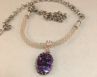 Purple Paua Shell Pendant Wrapped in Silver Wire 1.5 Inches Long on Silver Viking Knit 22 Inch Chain, One of a Kind