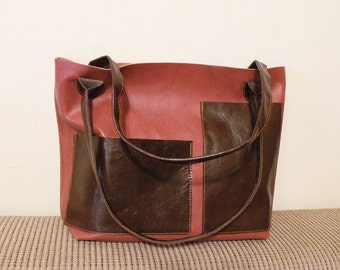 "sale - leather tote – ooak handmade chestnut brown bag - leather bag with pockets - genuine italian quality leather ""FABRIZIA"""