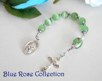Chaplet of the Seven Sorrows of the Blessed Mother Mary, Seven Sorrows of Blessed Virgin Mary, Peridot Cat's Eye Chaplet, Catholic Devotion