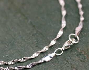 """2pcs Silver Plated Twisted Snake Chain Silver Necklace Width 2.2mm gcn411 17.5"""""""