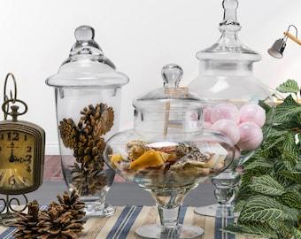 "Glass Apothecary Jars Set of 3, Candy Buffet Jars, Glass Jar with Lid, H-10"", 14.75"", 13"", #GAJ10810115118S"