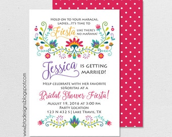 Fiesta Bridal Shower Invitation 3, Customized, Digital