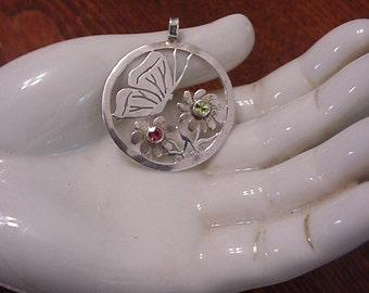Fabulous Jeweled Art Deco/Nouveau Openwork Sterling Butterfly