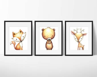 Woodland Nursery - Woodland Animals - Woodland Animals Nursery Art - Forest Animals - Woodland Baby Shower - Bear, Fox, Deer, Raccoon