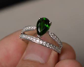Natural Chrome Diopside Ring Silver Pear Cut Green Gemstone Ring Tear Drop Ring