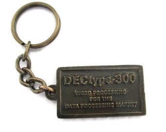Vintage 1970s Dectype 300 Word Processing  Bronze Tone Key Chain Key Saver
