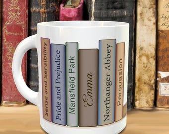 Bookish Mug ~ Jane Austen Books ~ Bibliophile Gift ~ Sense Sensibility Pride Prejudice Emma Mansfield Park Northanger Abbey Persuasion