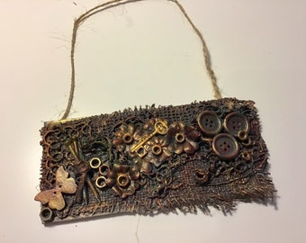 Steampunk, mixed media hanging plaque