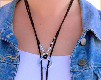 Wrap Choker Necklace Choker Slide Uno de 50 style Long Women Necklace Ring Lariat Necklace Black Lariat Long Necklace Female Boho Necklace