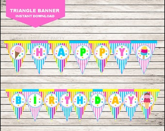 Ice Cream Triangle Banner instant download, Ice Cream Banner, Ice Cream Party Banner