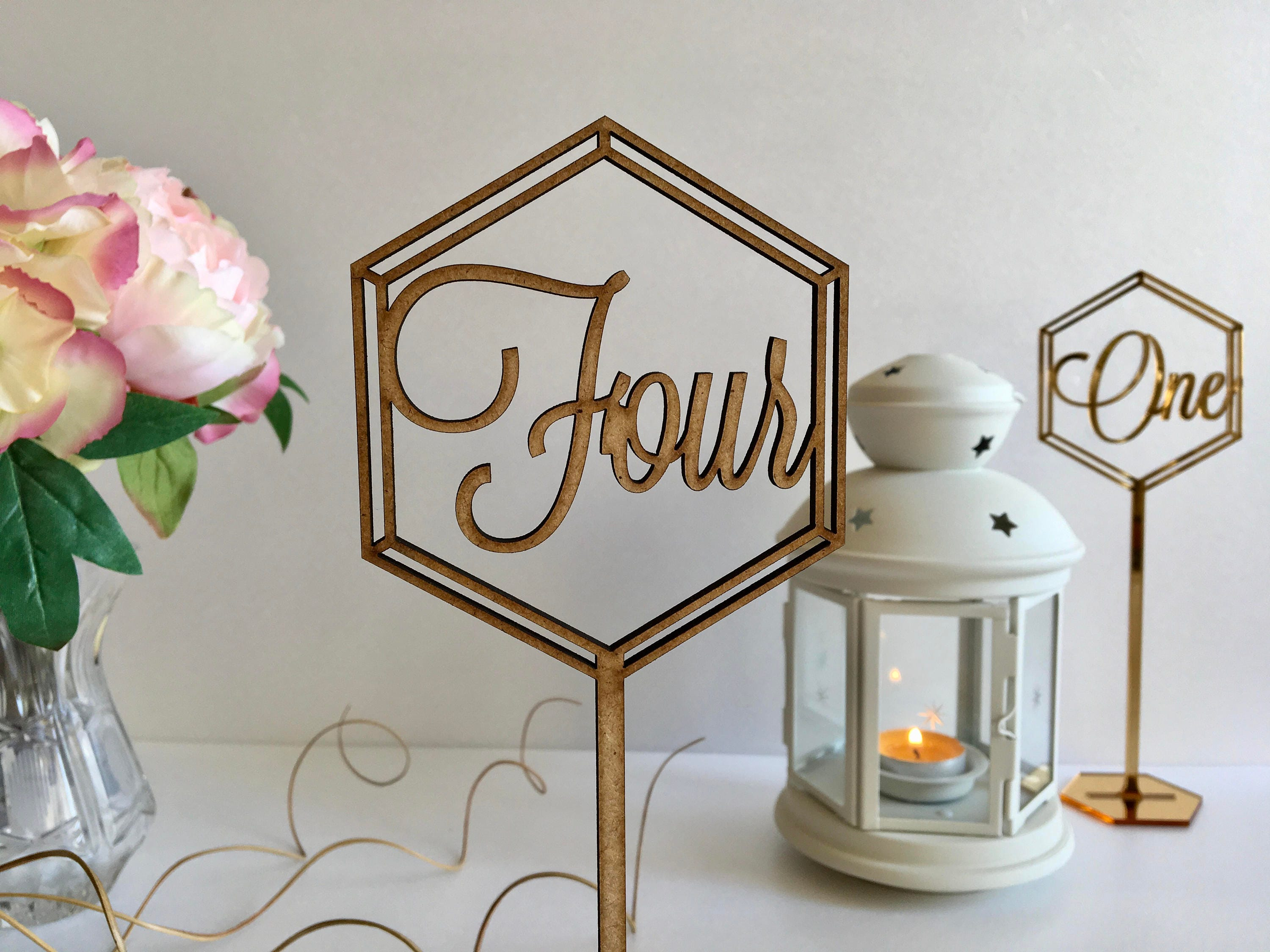 Wooden Wedding Table Numbers Stand Freestanding Hexagon