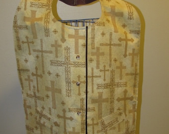 X-Large Adult Clothing Protector Bib with crosses ( #  585 )