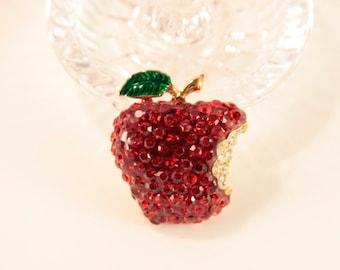 Apple Brooch Rhinestone Fruit Pin Summer Wedding Red Gold Apple Jewellery Brooch Vintage Shop Apple Accessory Birthday Gift for Apple Addict