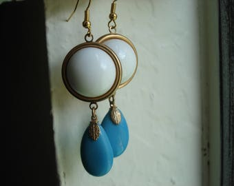 Art Deco Vintage White Milk Glass and Aqua Turquoise Glass Pendants Gold Pierced Earrings