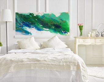 Coastal Art Painting, blue ocean wall art, Ocean Blue Wall art, Extra Large Wall art, blue Modern Wall art, Ocean Art Painting,  Mr and Mrs