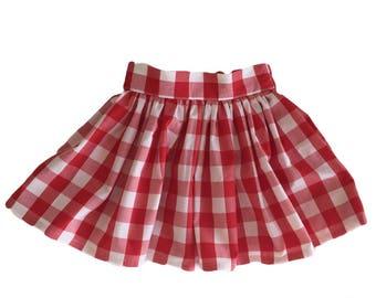 Red gingham picnic gathered girl's skirt