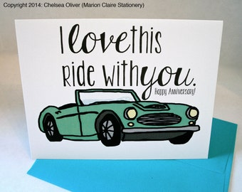 Anniversary Card - I Love This Ride With You - Car Ride