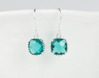 December Blue Zircon Silver Earrings, Silver Earrings, Blue Zircon Square Silver Earrings, December Birthstone, #794