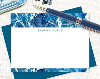 personalized flat note cards set - vintage marble paper SABRINA BLUE - set of 12 cards - custom stationary - blue stationery