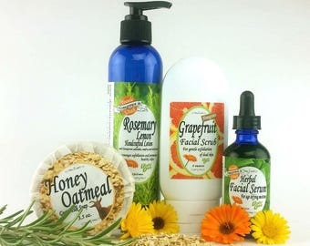 Age-defying Skin Care Kit - Cleanser, Facial Scrub, Herbal Serum and Lotion