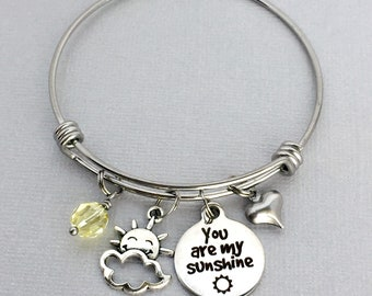 You are my Sunshine, Sunshine Charm Bangle, My Only Sunshine, Gift for Daughter, Gift for Friend, Sun Charm