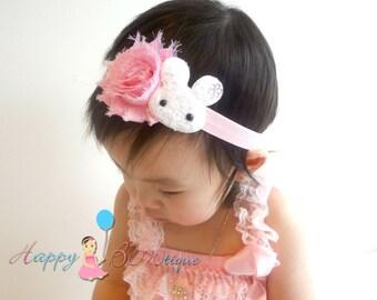 Easter Baby Headband / Easter Bunny headband / Pink and White Bunny Girls headband / Baby Headbands / Baby Photo Props, infant headband