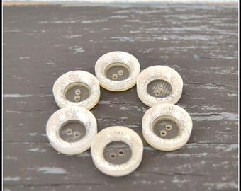 Set of Six (6) Clear Vintage Buttons - Clear Button Lot - Vintage Plastic Buttons   (#30)