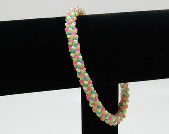 Beaded Bracelet, Stackable Bracelet, Chenille Bracelet, Bangle, Beadwoven Bracelet, Gift for Her, Summer Jewelry, Girlfriend Gift
